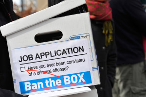WASHINGTON, DC - OCTOBER 26: General view of outreach materials are seen at a press conference for coalition's Ban The Box Petition Delivery to The White House on October 26, 2015 in Washington, DC. (Photo by Larry French/Getty Images for ColorOfChange.org)